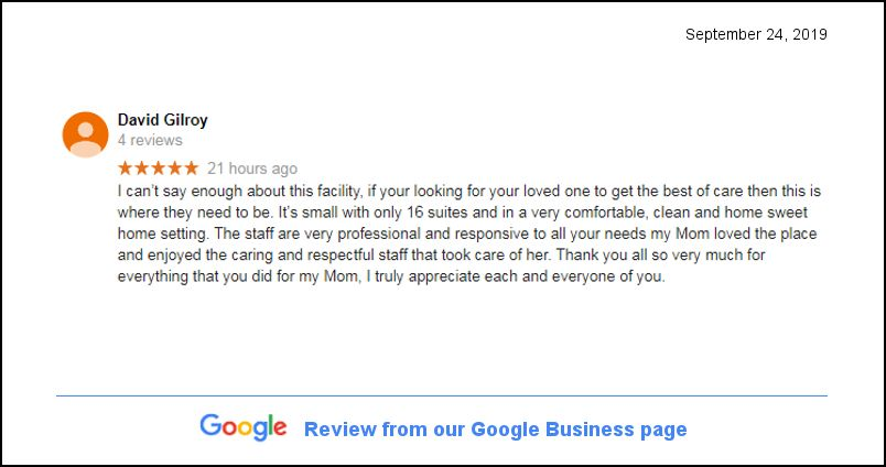 Google Review - Bel Air Assisted Living